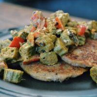 Coconut Curried Okra with Plantain Cutlets