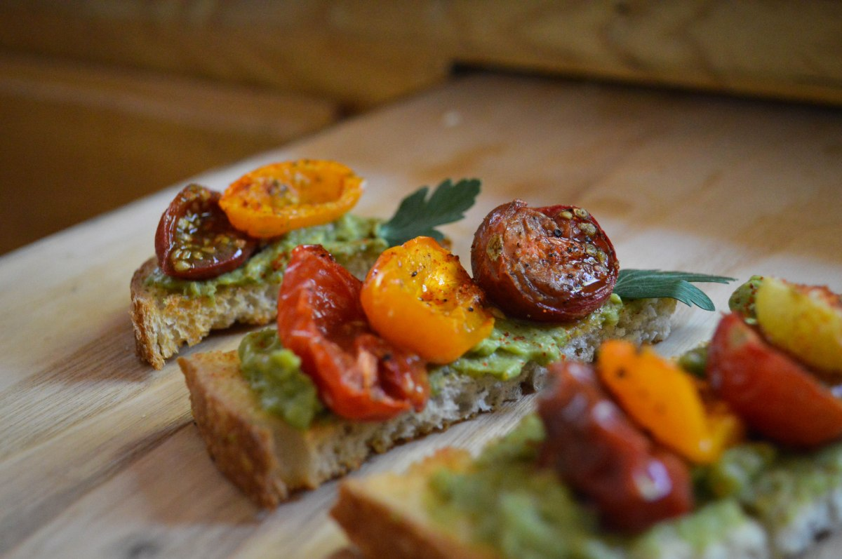 Roasted Baby Heirloom Bruschetta