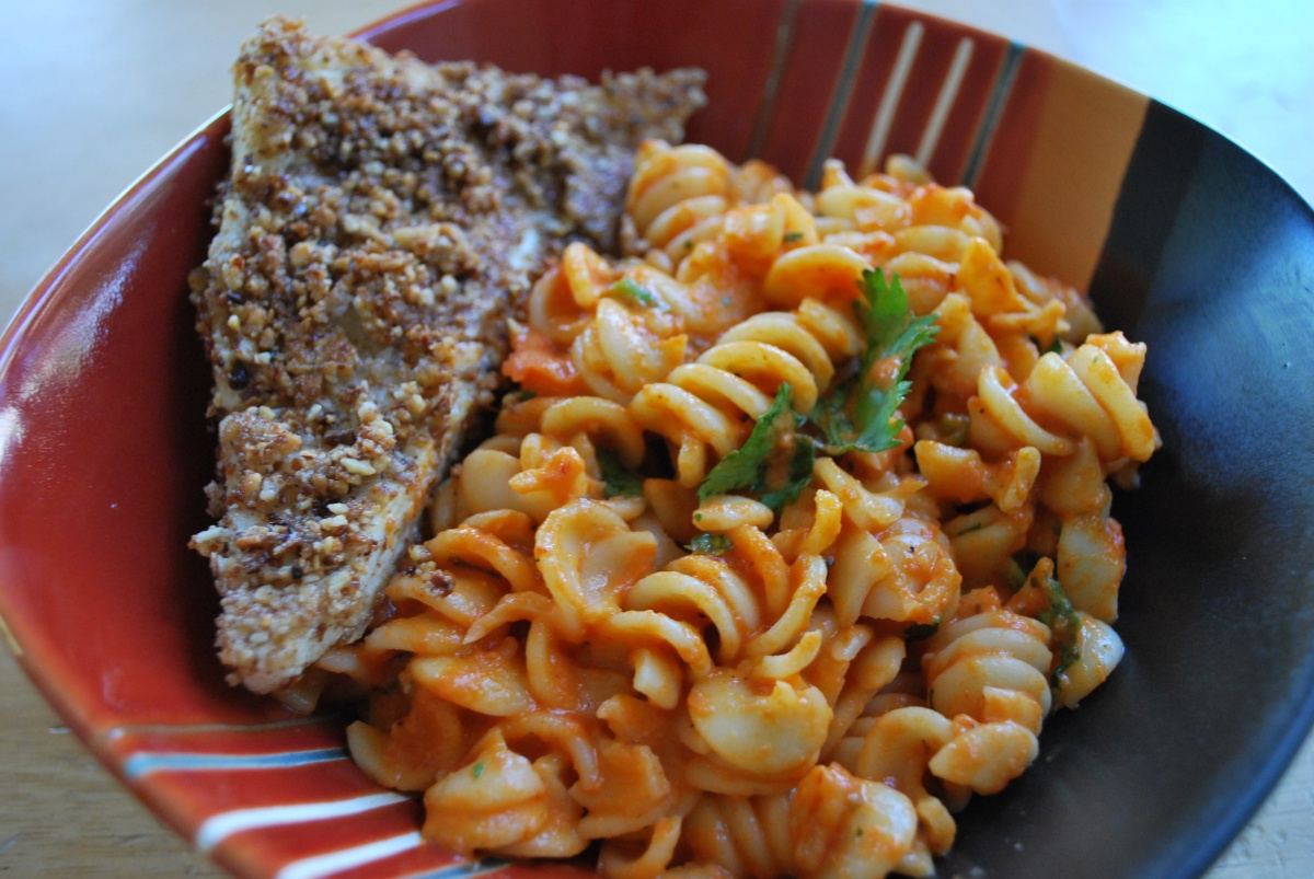 Almond Crusted Tofu with Roasted Red Pepper Fusilli