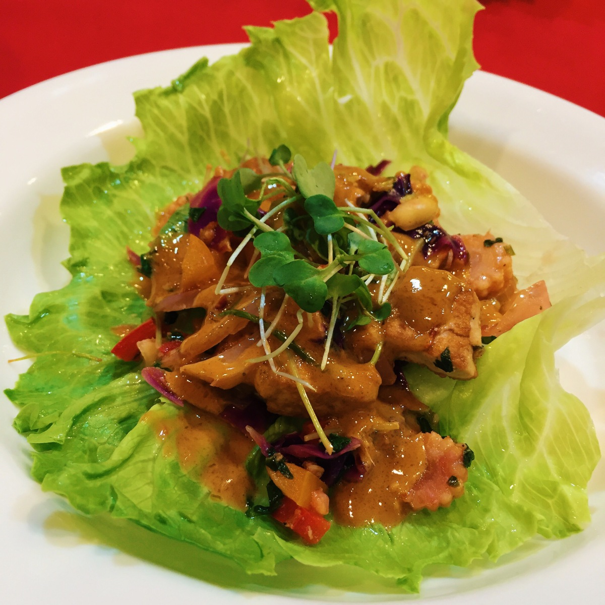 Asian Lettuce Wraps with Chili Peanut Sauce
