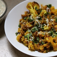 It's Diwali Week!  Tamarind Curried Cauliflower + Cucumber Raita