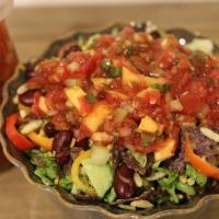 Diwali Week Recipe #2: Burrito Bowl Bhel + Mango-Peach Habañero Salsa!